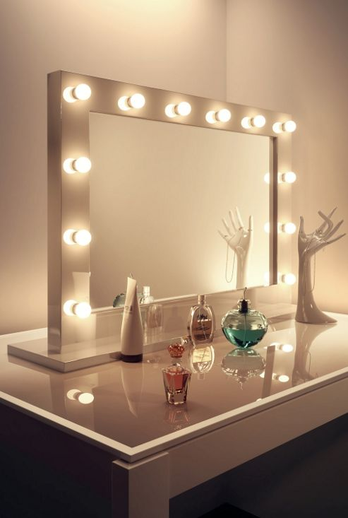 Buy High Gloss White Hollywood Makeup Mirror With Warm