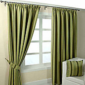 """Homescapes Green Jacquard Curtain Modern Striped Design Fully Lined - 66"""" X 72"""" Drop"""
