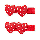 Mothercare Young Girls Red Heart Croc Clips - 2 Pack