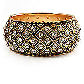 Antique Gold Crystal Hinged Bangle Bracelet