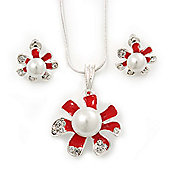 Enamel Red Pearl, Crystal Flower Pendant With Silver Tone Snake Style Chain & Stud Earrings Set - 40cm Length/ 6cm Extender
