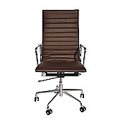 Eames EA119 Inspired High Back Ribbed Brown Leather Office Chair