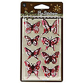Floral Butterfly Stickers - Pink/Brown