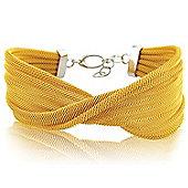 Jewelco London Sterling Silver - Gilded-hue Galvanised Mesh Wristpiece - Bangle - Ladies