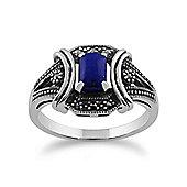 Gemondo 925 Sterling Silver 0.52ct Lapis Lazuli & Marcasite Art Deco Ring