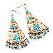 Gold Plated Hammered Turquoise Style Bead Chandelier Earrings - 8cm Drop
