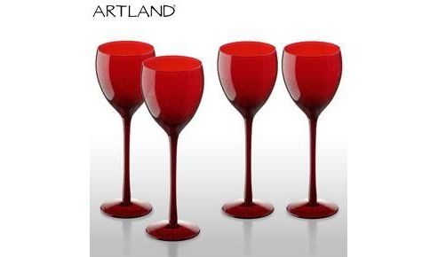Set of 4 Artland Midnight Goblet Glasses Red