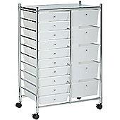 VonHaus 15 Drawer White Mobile Storage Trolley