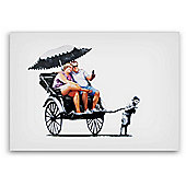 Banksy Rickshaw Tourists Canvas Wall Art A4 Size
