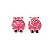 Pink Enamelled Silver Pig Stud Earrings