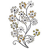 Large Floral Design Metal Garden or Home Wall Art with Coloured Stones