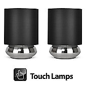 Pair of Touch Table Lamps in Brushed Chrome with Black Shades