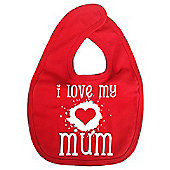 Dirty Fingers I Love my Mum Baby Bib Red
