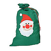 Large Felt Christmas Gift Bag Santa Sack - Single Green