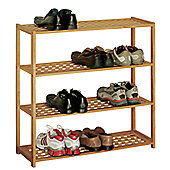 Premier Housewares 4 Tier Shoe Rack - Walnut