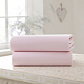 Clair de Lune Fitted Cotton Interlock Sheets - Cot (Pink)