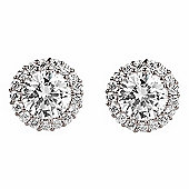 Silver stud earrings with medium crystal in pave surround