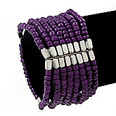 Multistrand Purple Glass/Silver Acrylic Bead Flex Bracelet - 19cm Length