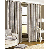Paoletti - Belmont Lined Chenille Eyelet Jacquard Woven Curtains - Silver