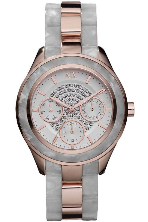 Armani Exchange Ladies Stone Set Rose Gold Tone Watch AX5154
