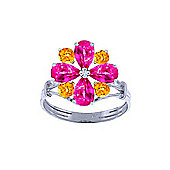 QP Jewellers Citrine & Pink Topaz Rafflesia Ring in 14K White Gold