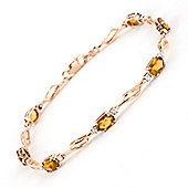QP Jewellers 8.5in Diamond & Citrine Classic Tennis Bracelet in 14K Rose Gold