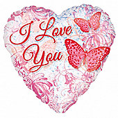 Valentines Balloons 18' Sophisticated Romance Clear Foil (each)