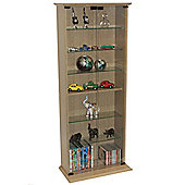 Boston - Dvd/cd Book Storage Shelves Glass / Collectable Display Cabinet - Oak