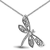 Jewelco London Rhodium Coated Sterling Silver CZ dragon fly Charm Pendant - 18 inch Chain
