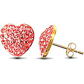 Jewelco London 9ct Gold sparkling Crystal set Heart Studs - Light Pink