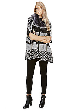 F&F Faux Fur Collar Striped Cape - Grey