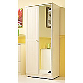 Welcome Furniture Warwick Tall Wardrobe with Mirror - Cream with Oak Finishing