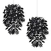 Pair of Floral Ceiling Pendants Black