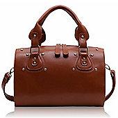 Designer Brown Studded Barrel Tote Fashion Handbag