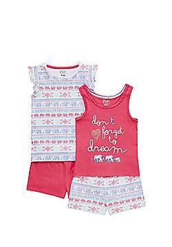 F&F 2 Pack of Elephant Print Pyjamas - Pink