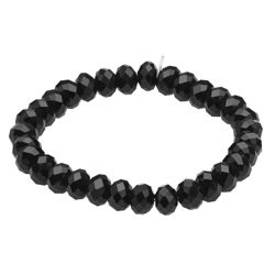 Black Glass Bead Stretch Bracelet