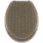 Sanwood Grid Toilet Seat - Silver/Gold