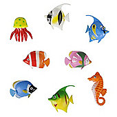 Pack of Eight Colourful Artificial Tropical Fish