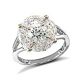 Jewelco London Rhodium Coated Sterling Silver Cubic Zirconia Gemstone Ring Size