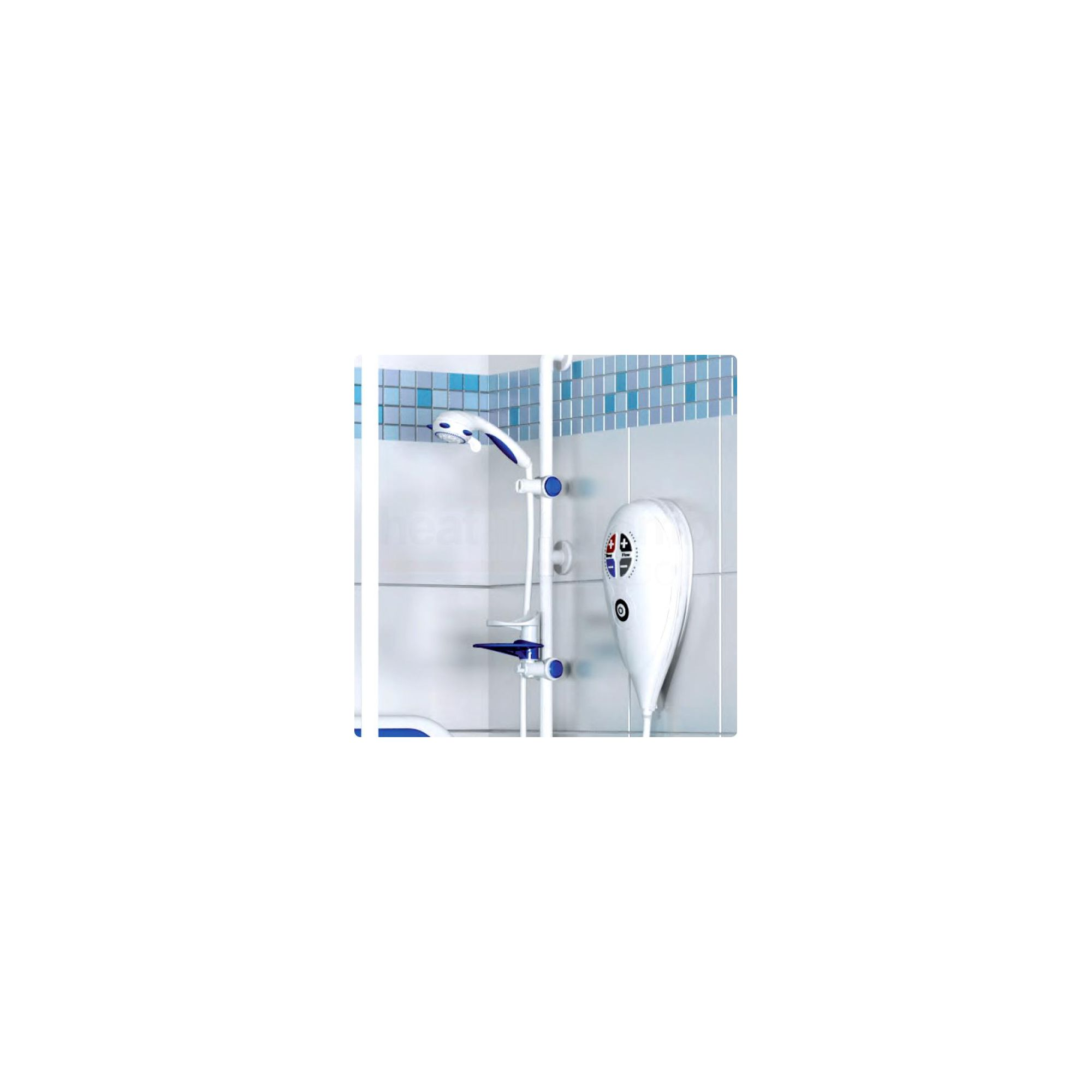 AKW Luda Care Electric Shower 10kW with White Riser Rail at Tesco Direct