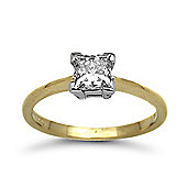 Jewelco London 18 Carat Yellow Gold 75pts Princess Cut Ring