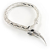 Silver Tone Mesmerized Fashion Snake Bangle Bracelet (18cm)