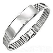 Urban Male Men's Stainless Steel Wire Bracelet With ID Plate
