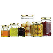 KitchenCraft Home Made Hexagonal Jar with Twist-off Lid - 8oz