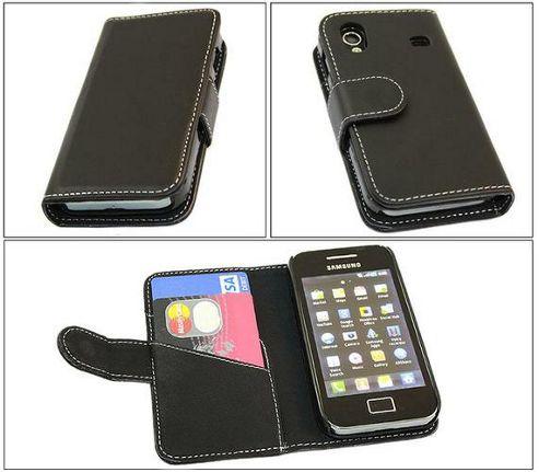 iTALKonline Black Wallet Case/Credit Card Holder for Samsung S5830 Galaxy Ace