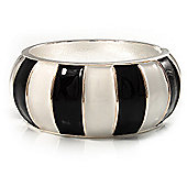 Black & White Segmental Wide Enamel Hinged Bangle (Silver Tone) - 3.2cm Width
