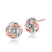 Gemondo 9ct Two Colour Rose & White Gold Diamond Love Knot 'Devotion' Stud Earrings