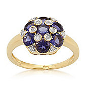 Gemondo Gold Plated Sterling Silver 1.34ct Iolite & 5.4pt Diamond Cluster Ring