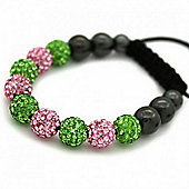 Green and Pink Crystal Unisex Fashion Bracelet SHAMBRAC-71