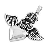 Urban Male Stainless Steel Flying Heart Pendant For Men